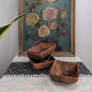 Cool square wooden bowls - 4 pcs